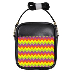 Colorful Zigzag Stripes Background Girls Sling Bags
