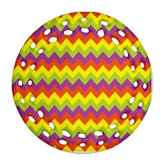 Colorful Zigzag Stripes Background Round Filigree Ornament (Two Sides)