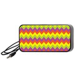Colorful Zigzag Stripes Background Portable Speaker (Black)