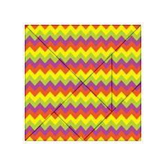 Colorful Zigzag Stripes Background Acrylic Tangram Puzzle (4  x 4 )