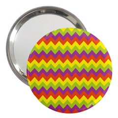 Colorful Zigzag Stripes Background 3  Handbag Mirrors