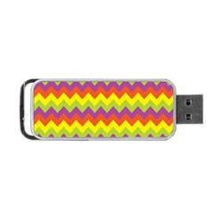 Colorful Zigzag Stripes Background Portable USB Flash (One Side)