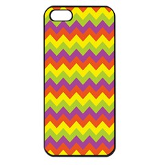 Colorful Zigzag Stripes Background Apple iPhone 5 Seamless Case (Black)
