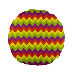 Colorful Zigzag Stripes Background Standard 15  Premium Round Cushions