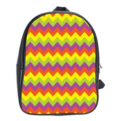 Colorful Zigzag Stripes Background School Bags (XL)