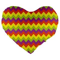 Colorful Zigzag Stripes Background Large 19  Premium Heart Shape Cushions