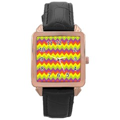 Colorful Zigzag Stripes Background Rose Gold Leather Watch