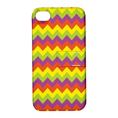 Colorful Zigzag Stripes Background Apple iPhone 4/4S Hardshell Case with Stand