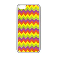 Colorful Zigzag Stripes Background Apple iPhone 5C Seamless Case (White)