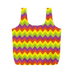 Colorful Zigzag Stripes Background Full Print Recycle Bags (M)