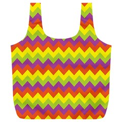Colorful Zigzag Stripes Background Full Print Recycle Bags (L)