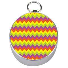 Colorful Zigzag Stripes Background Silver Compasses