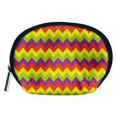 Colorful Zigzag Stripes Background Accessory Pouches (Medium)