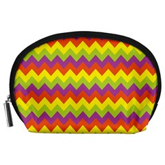 Colorful Zigzag Stripes Background Accessory Pouches (Large)