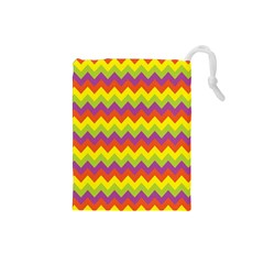 Colorful Zigzag Stripes Background Drawstring Pouches (Small)