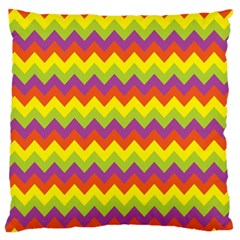 Colorful Zigzag Stripes Background Large Flano Cushion Case (Two Sides)