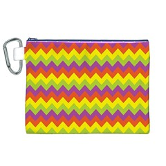 Colorful Zigzag Stripes Background Canvas Cosmetic Bag (XL)