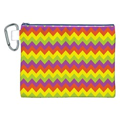 Colorful Zigzag Stripes Background Canvas Cosmetic Bag (XXL)