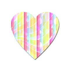 Abstract Stripes Colorful Background Heart Magnet