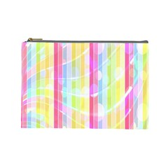 Abstract Stripes Colorful Background Cosmetic Bag (Large)