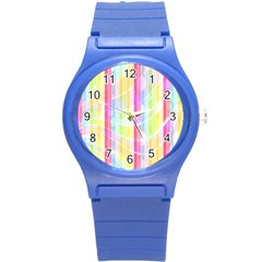 Abstract Stripes Colorful Background Round Plastic Sport Watch (S)