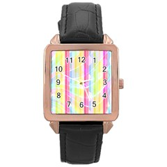Abstract Stripes Colorful Background Rose Gold Leather Watch
