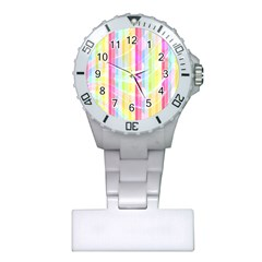 Abstract Stripes Colorful Background Plastic Nurses Watch