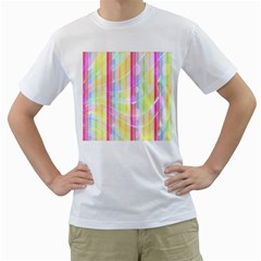 Abstract Stripes Colorful Background Men s T Shirt (white)