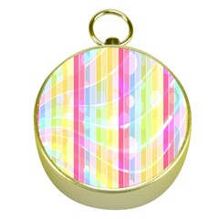 Abstract Stripes Colorful Background Gold Compasses