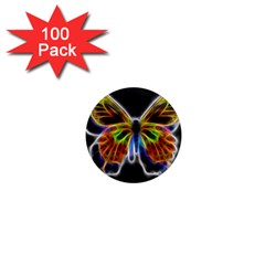 Fractal Butterfly 1  Mini Magnets (100 Pack)