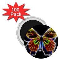 Fractal Butterfly 1 75  Magnets (100 Pack)