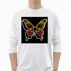Fractal Butterfly White Long Sleeve T Shirts