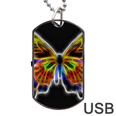 Fractal Butterfly Dog Tag USB Flash (One Side)