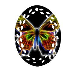 Fractal Butterfly Oval Filigree Ornament (Two Sides)