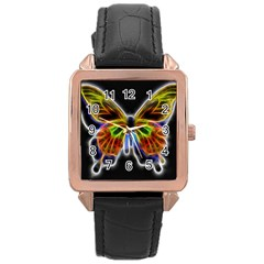 Fractal Butterfly Rose Gold Leather Watch