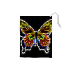 Fractal Butterfly Drawstring Pouches (small)