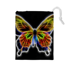 Fractal Butterfly Drawstring Pouches (Large)