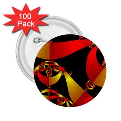 Fractal Ribbons 2.25  Buttons (100 pack)