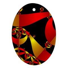 Fractal Ribbons Oval Ornament (two Sides)