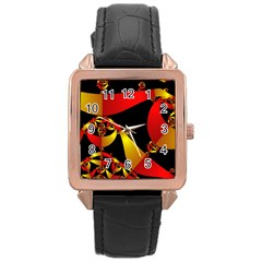 Fractal Ribbons Rose Gold Leather Watch