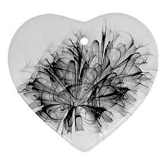Fractal Black Flower Ornament (heart)