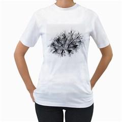 Fractal Black Flower Women s T Shirt (white) (two Sided)