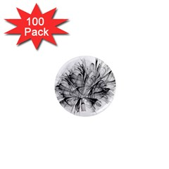 Fractal Black Flower 1  Mini Magnets (100 pack)