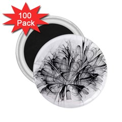 Fractal Black Flower 2 25  Magnets (100 Pack)