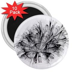 Fractal Black Flower 3  Magnets (10 pack)