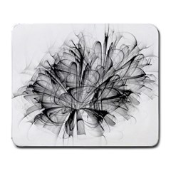 Fractal Black Flower Large Mousepads