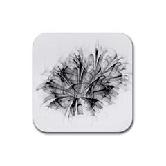Fractal Black Flower Rubber Coaster (square)