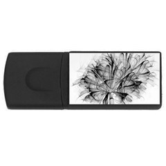 Fractal Black Flower USB Flash Drive Rectangular (2 GB)