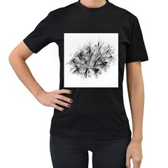 Fractal Black Flower Women s T Shirt (black) (two Sided)