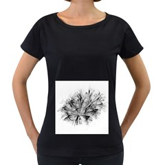 Fractal Black Flower Women s Loose Fit T Shirt (black)
